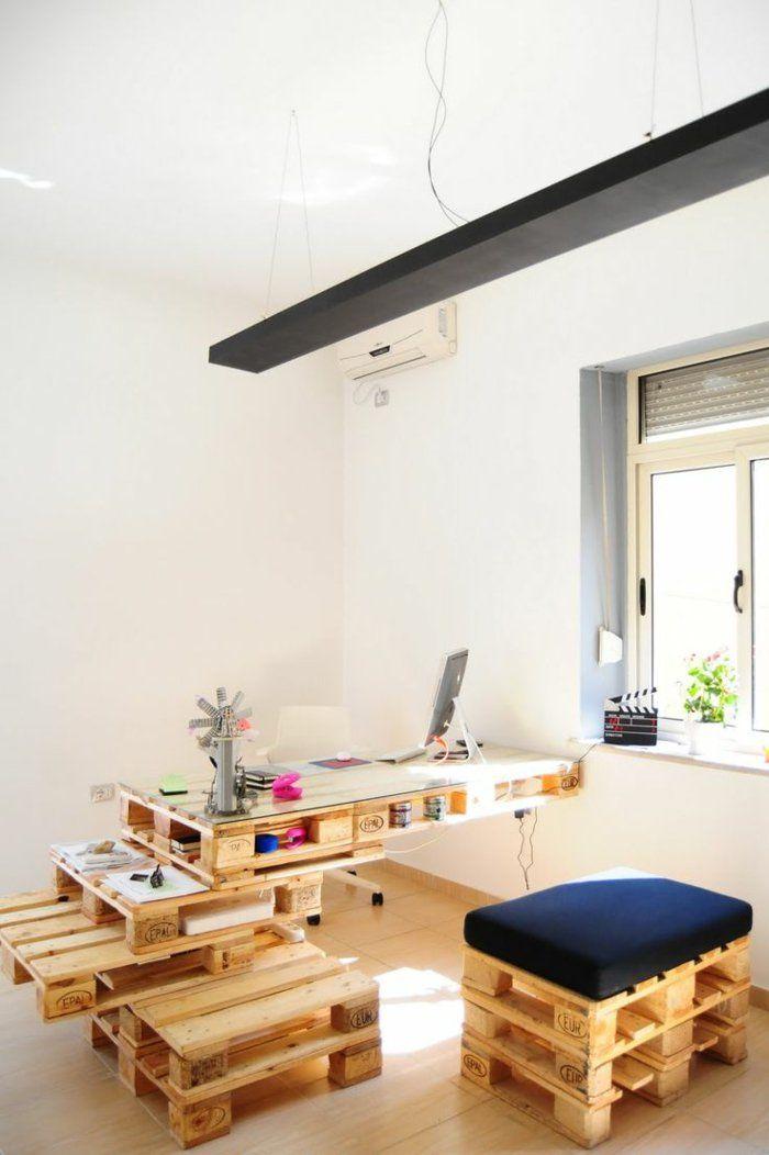 1001 ideen f r schreibtisch selber bauen 21 ideen aus paletten paletten weinkisten. Black Bedroom Furniture Sets. Home Design Ideas