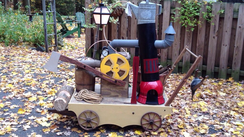 Beauty and the Beast, wood chopping contraption Beauty