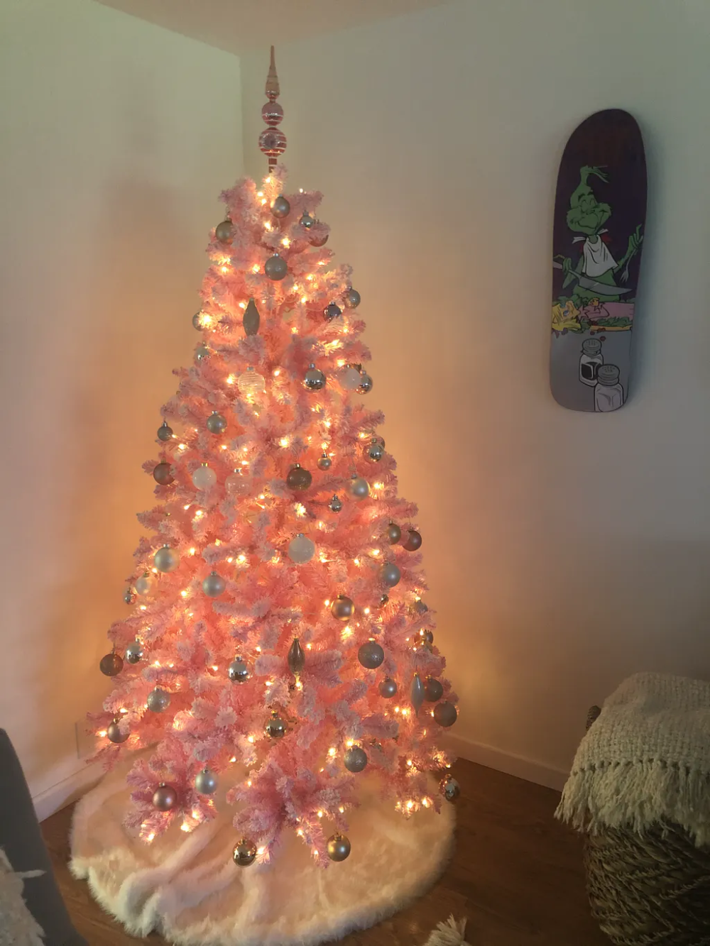 6.5' Pink Flock Artificial Christmas Tree with 500 Warm ...