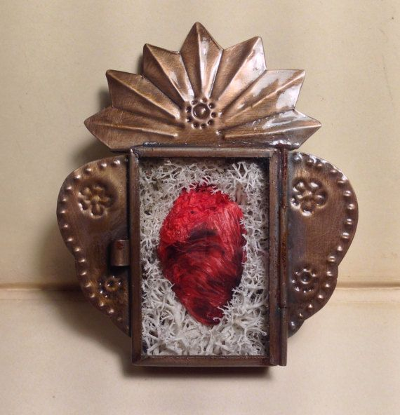 Sacred Heart Altar Style Wall Display With Real Dry Preserved Turkey