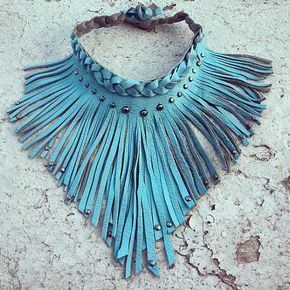 Photo of Items similar to Leather fringe choker with braid and stud detail on Etsy
