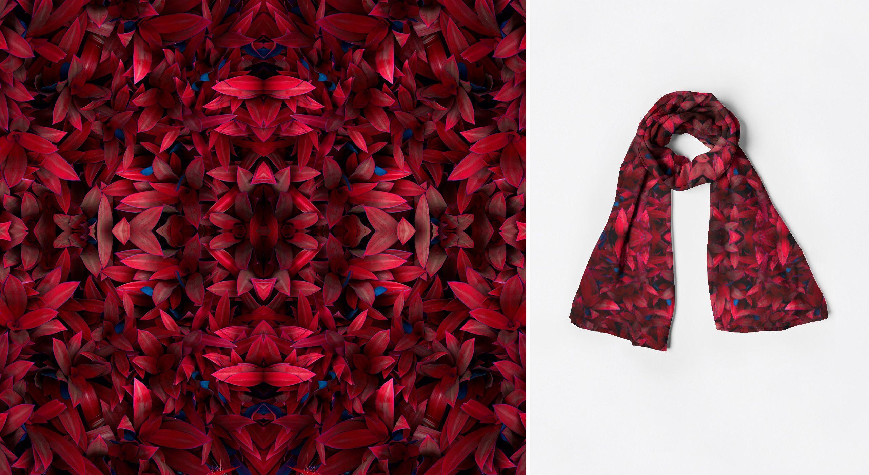Cashmere Silk Scarf - red leaves by VIDA VIDA 8Tzo3eSPVS