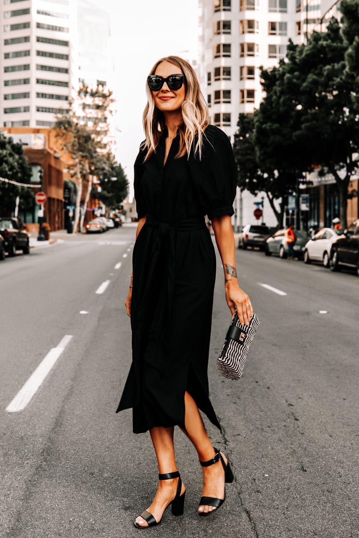 Fashion Jackson Wearing Ann Taylor Black Shirt Dress Black Heeled Sandals Black Tan Woven Clutch Fashion Jackson Fashion Summer Black Dress [ 1800 x 1200 Pixel ]