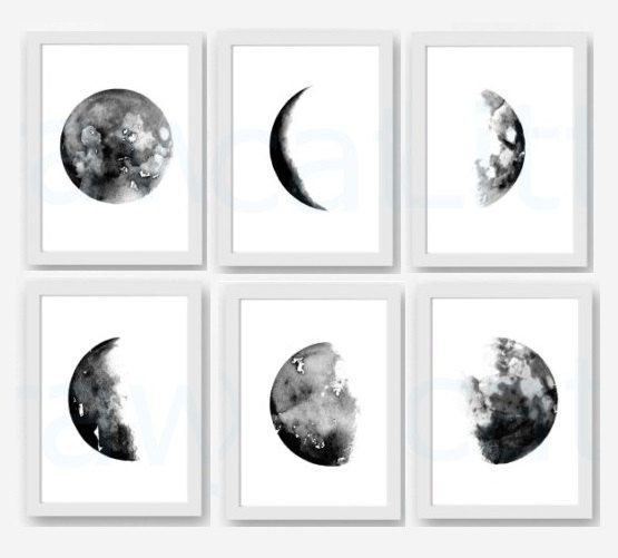 Moon phase print set of 6 watercolor painting print lunar moon phases living room decor luna moons black white home decor wall art print