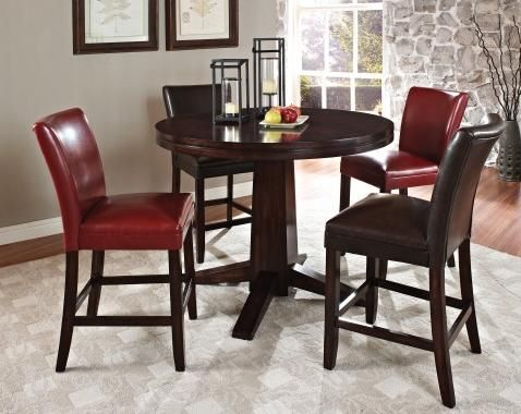 Esquire Counter Height Table Chairs In Red Or Brown
