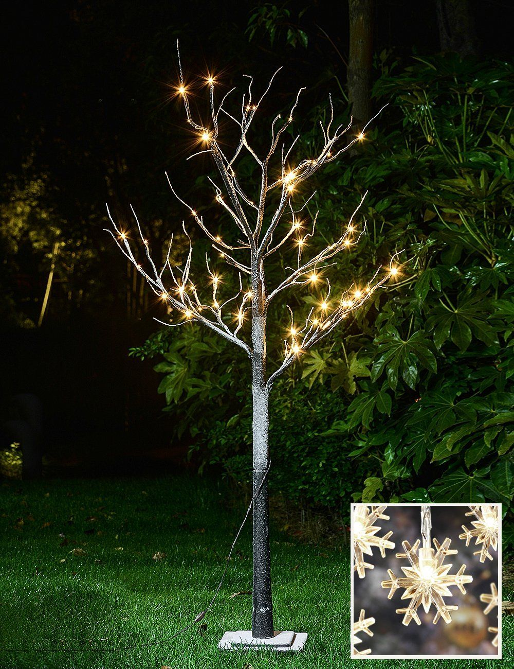 Lightshare New 5ft 72l Led Snow Tree For Party Outdoor Holiday Decor White Led Lights Outdoor Christmas Decorations