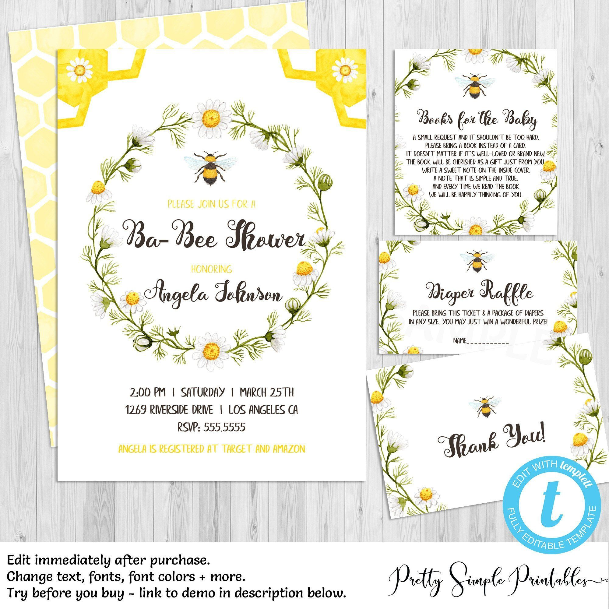 Bee Baby Shower Invitation Set Gender