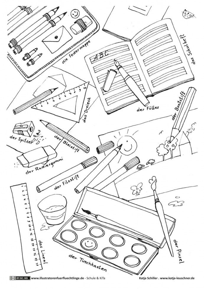 schreibzeug stifte hefte farbkasten  schule malvorlagen