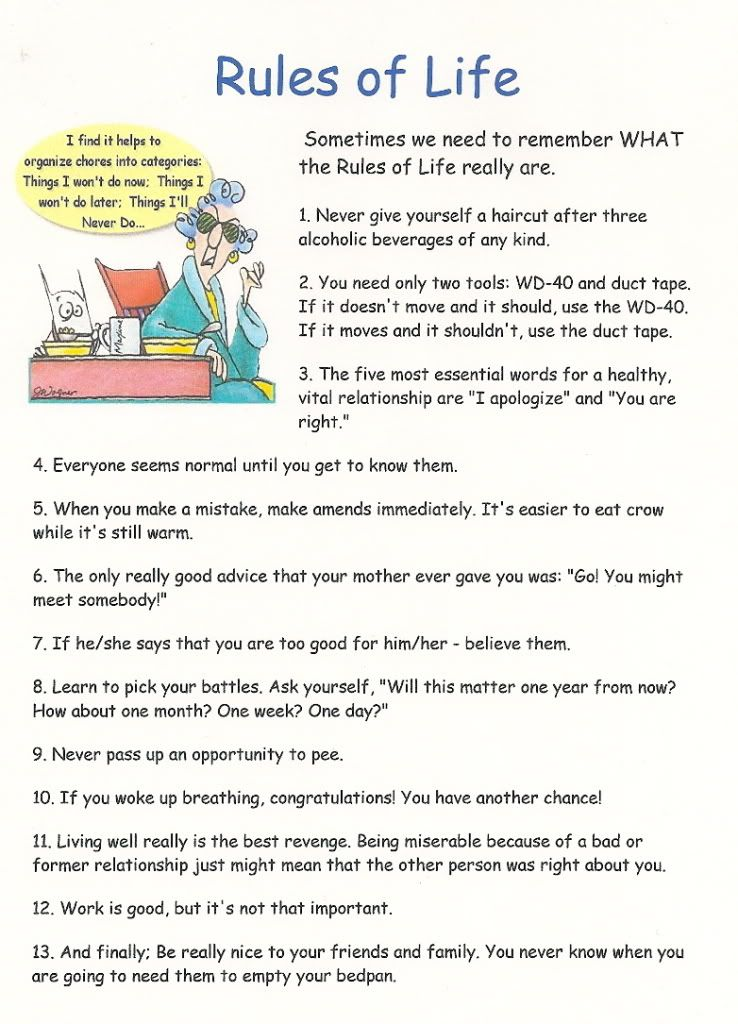 Image detail for -Here's a list of Maxine's Rules of Life