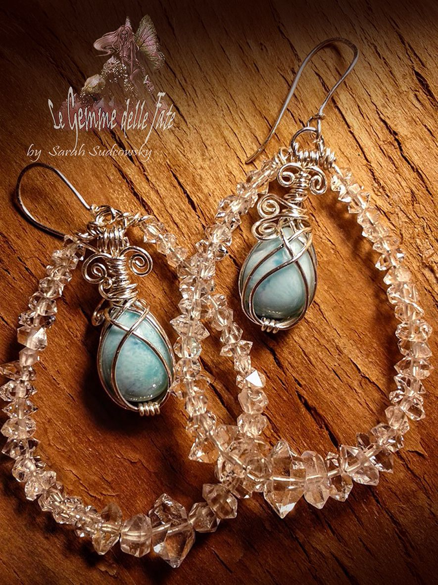 (by Le Gemme delle Fate -Sarah Sudcowsky Jewelry Art) - Artwork Jewelry - EARRINGS - Larimar (Santo Domingo), Diamond Quartz (Pakistan), SILVER 925 wire.