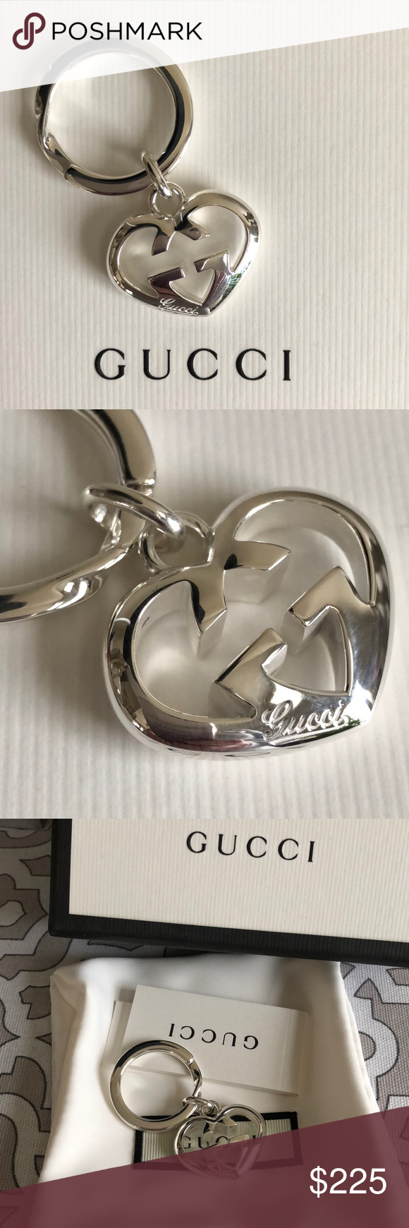 f0e1fee3df9a5 GUCCI ❤ Love Britt Sterling Silver Key Chain ❤ GUCCI •Authentic• Keyring  Sterling Silver Brand New and includes box and jewelry pouch Would make a  ...