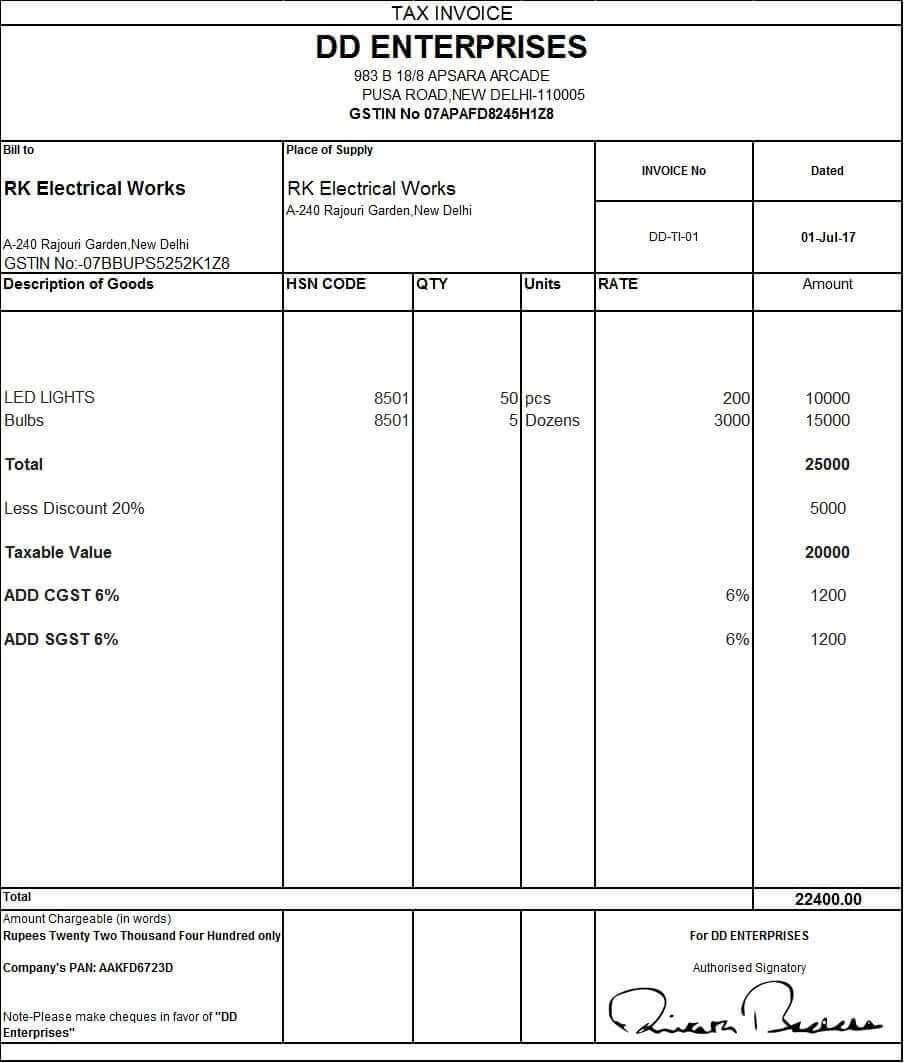 Download Excel Format Of Tax Invoice In Gst Gst Invoice