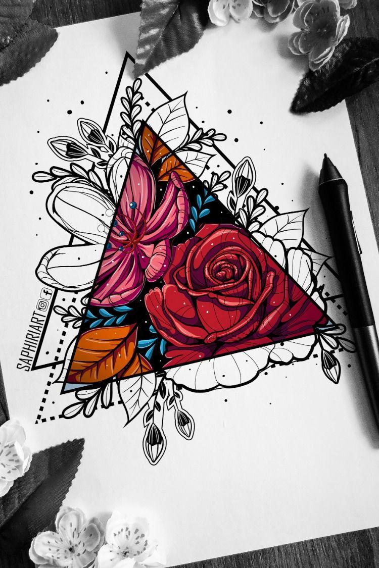 Half Colored Flowers Geometric Tattoo Design Colored Tattoo Design Geometric Tattoo Color