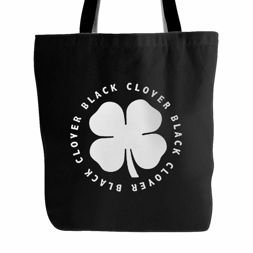 Black Clover 4 Leaf Tote Bag In 2020 Tote Bag Bags Black Tote Bag