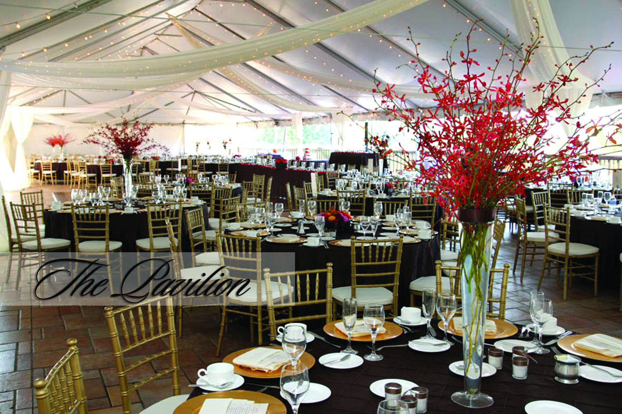 Tent Set for a Wedding Reception with Brown and Red