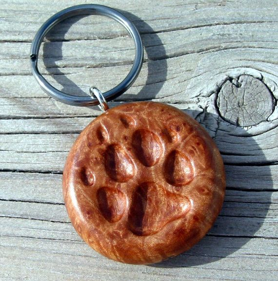 Wolf dog keychain wooden paw print carving hand carved