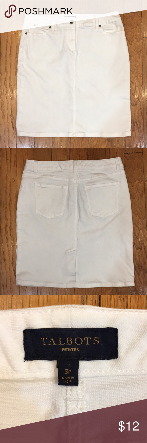 2056864e33a Talbots White Denim Skirt Size 8 PETITE Talbots White Denim Skirt Size 8  PETITE Waist