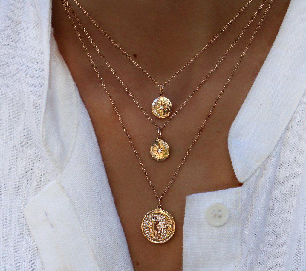 14kt gold and diamond starburst hammered mini disk necklace – Luna