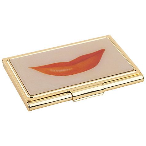 Kate Spade New York Lips Business Card Holder Gold Pink