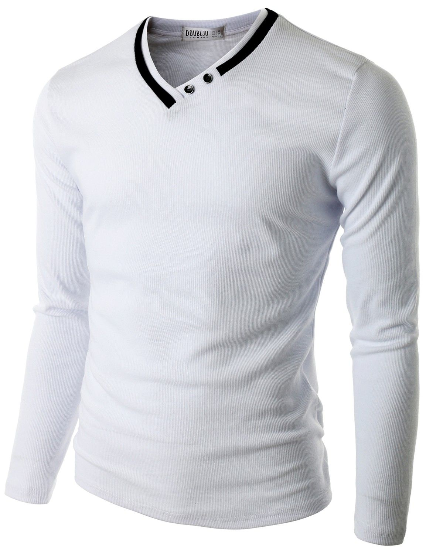 Doublju Men's Long Sleeve T-Shirt with Neck Detail (CMTTL03) #doublju