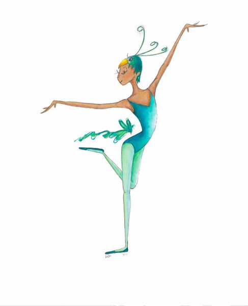 "Danza Ballet arte-pájaro-Peter & Ballet TheWolf-8 ""x 10"" imprimir-bailarina-azul pájaro verde máscara/sombrero plumas cola-acuarela-WallArt Decor-traje-regalos"