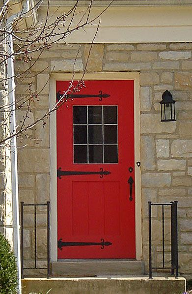 Beautiful Red Door With Strap Hinges