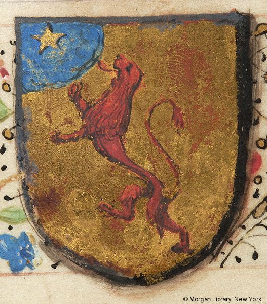 Heraldry, or a lion rampant gules, on a rounded canton azure a mullet or | Book of Hours | France, Paris | ca. 1470-1480 | The Morgan Library & Museum