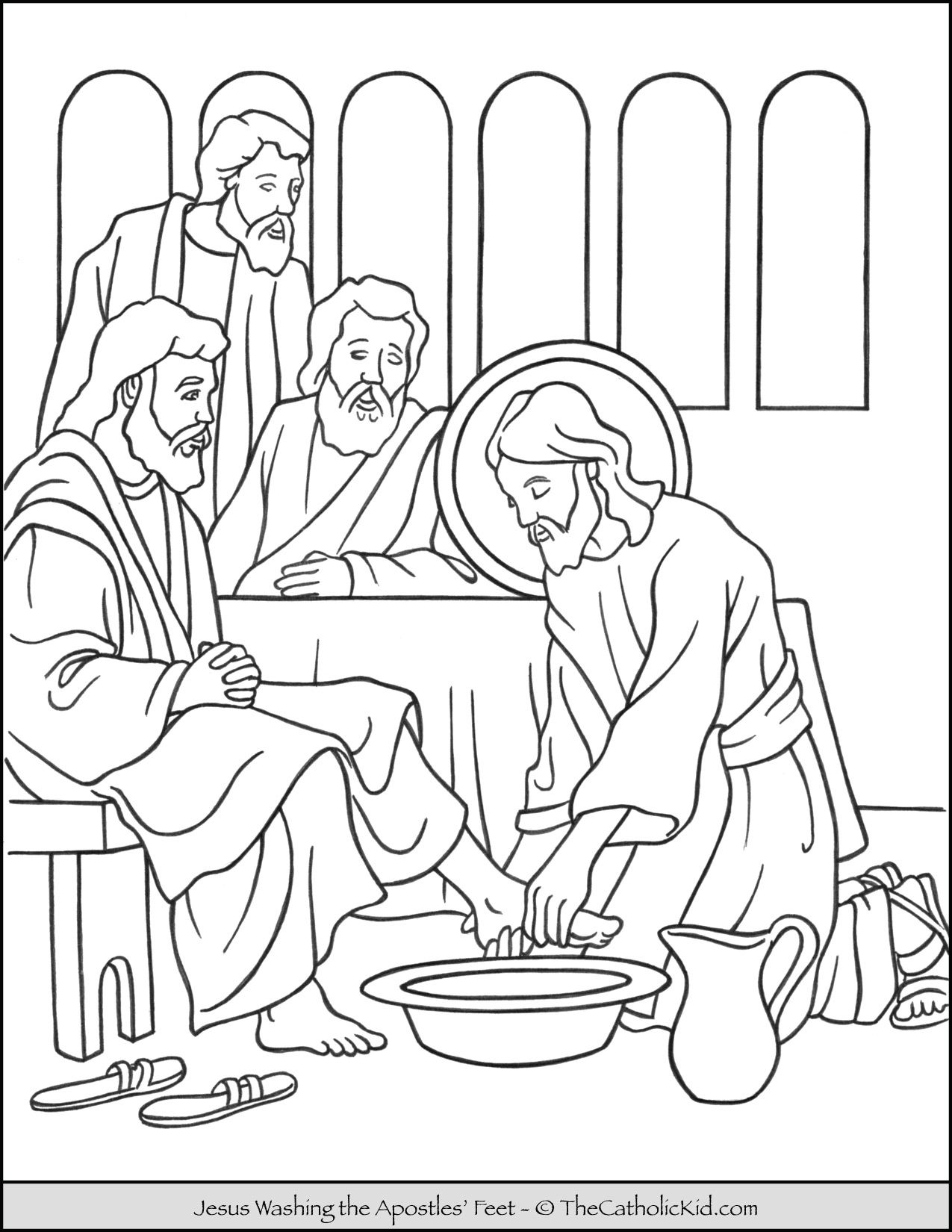 Jesus Washing The Apostles Feet Coloring Page Thecatholickid Com
