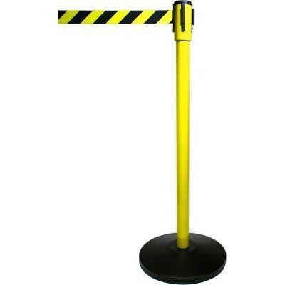 """Signature Series Crowd Control Pro Line Retractable Belt Yellow Stanchions. Robust/High quality full size 21 lb. metal 40"""" stanchion with 10"""