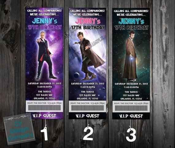 Doctor Who Birthday Party Ticket Invitations 3 by CYDesignCompany