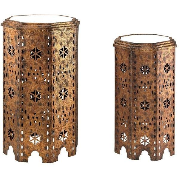 Moroccan Side Table Set Of 2 (520 CAD) ❤ Liked On Polyvore Featuring Home,  Furniture, Tables, Accent Tables, Gold Leaf Furniture, Moroccan Furniture,  ...