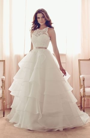 Paloma Blanca - Halter Ball Gown in Alencon Lace. Not into the puffy gowns but i like how this looks