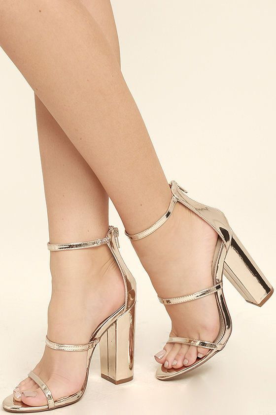 Fifi Mirror Rose Gold Ankle Strap Heels | Strap heels, Vegan ...