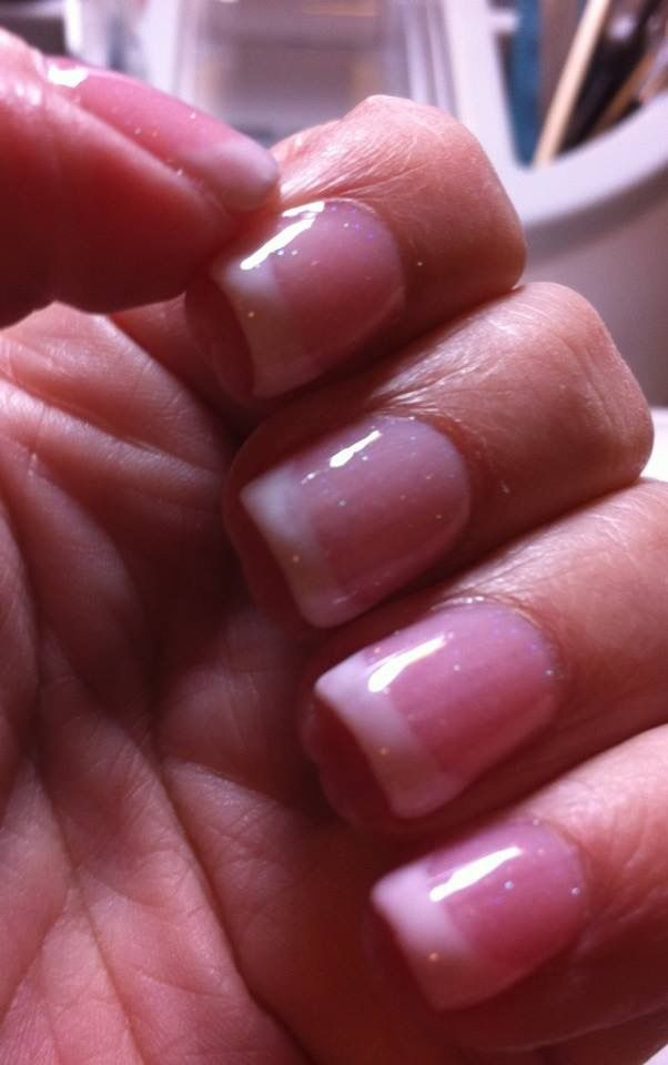 French Mani Using Madam Glam One Step Polishes Over A Glitter