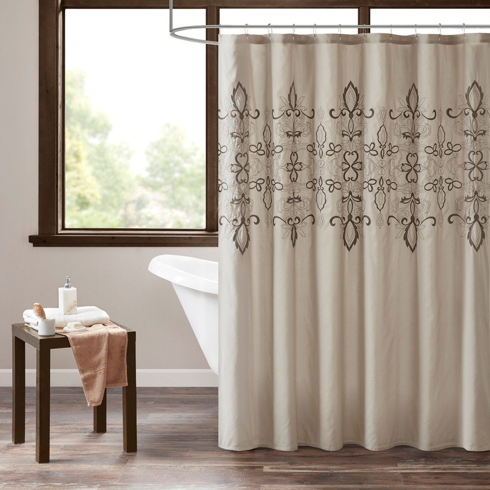 Bianka embroidered lined shower curtain natural products