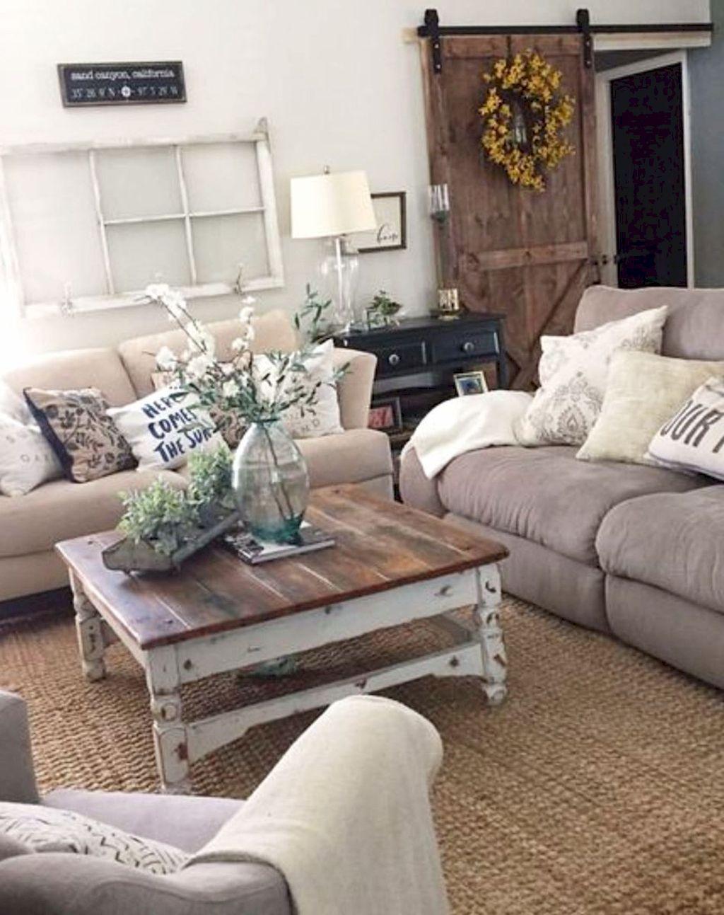 45 cozy modern farmhouse living room decor ideas Rustic