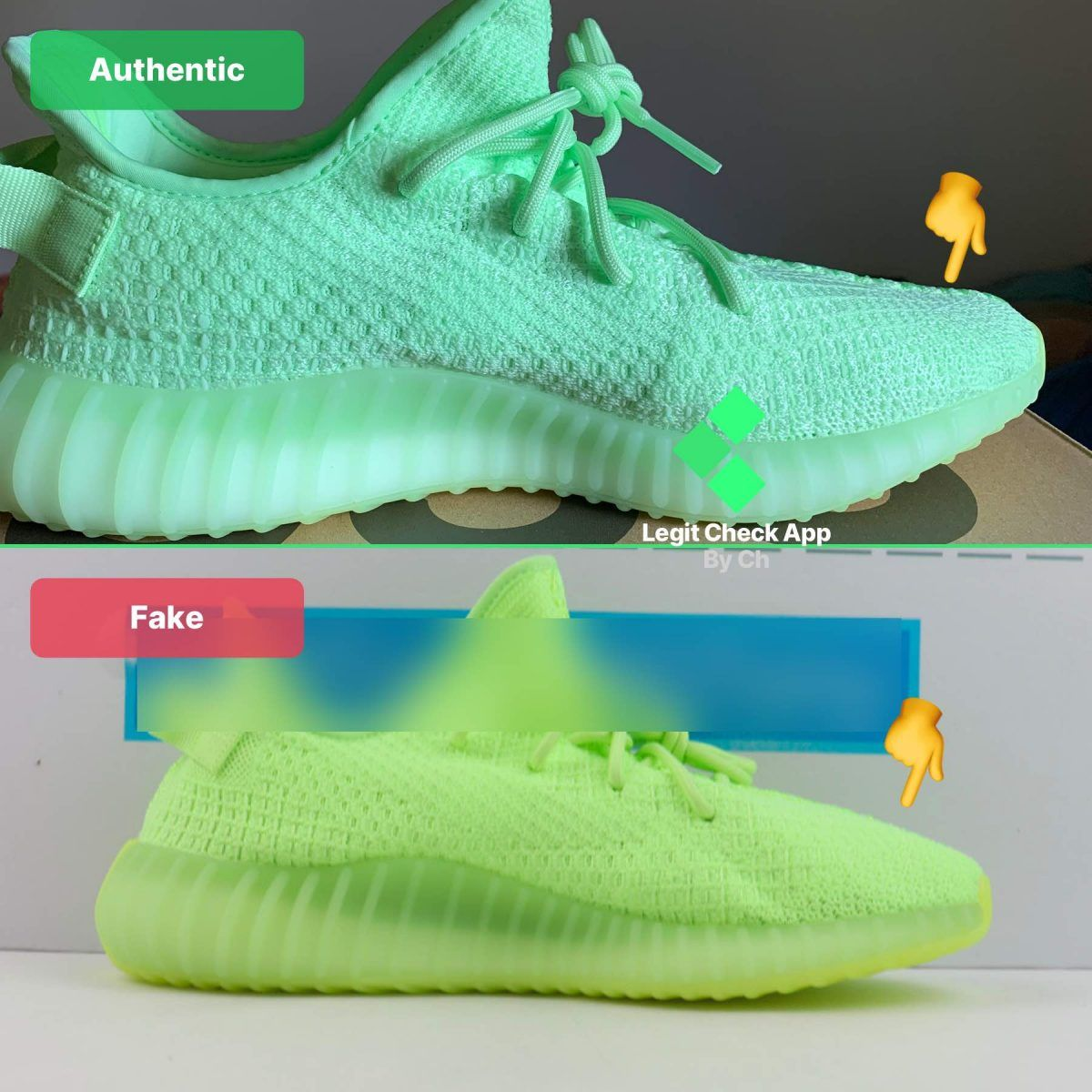 toe box of the Yeezy Boost 350 V2 Glow