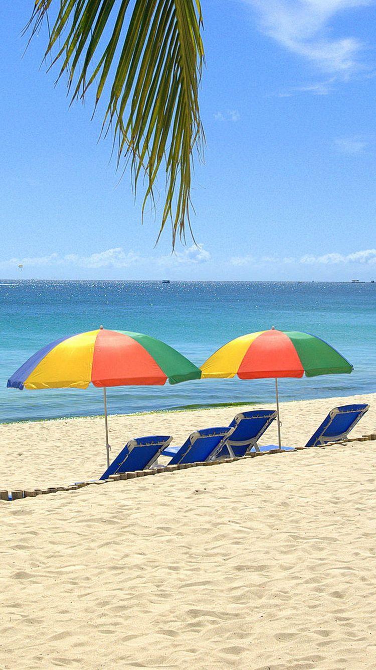 Wallpaper iphone umbrella - Beach Sunbeds Umbrellas Ocean Iphone 6 Wallpaper