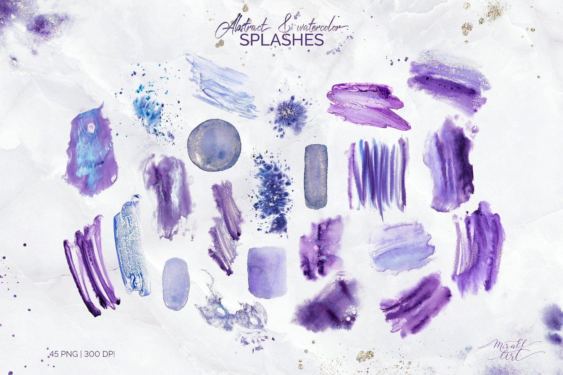 Violet Aura Watercolor Design Kit Watercolor Splash Png Watercolor Design Watercolor Splash