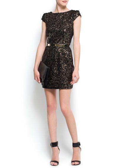 Contrasted sequins velvet dress - Woman | Samtkleid und Pailletten