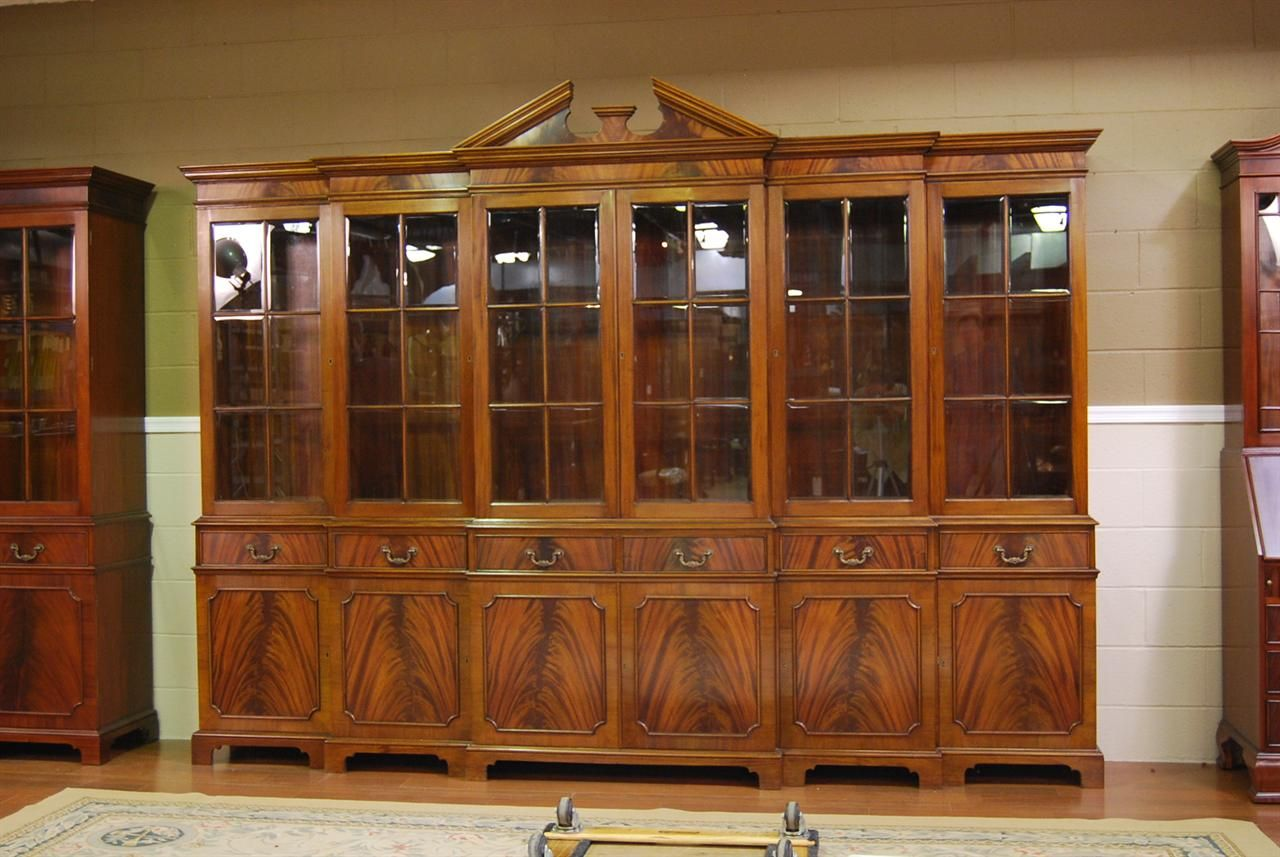 Large Mahogany China Cabinet Six Door Breakfront