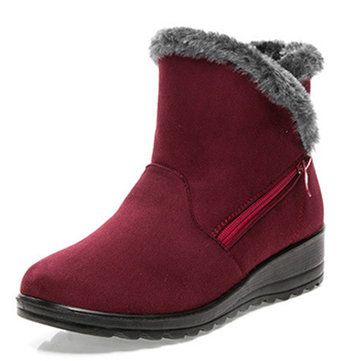 cb1cd5f0a5cc New Large Size Women Winter Boots Round Toe Ankle Short Snow Boots ...
