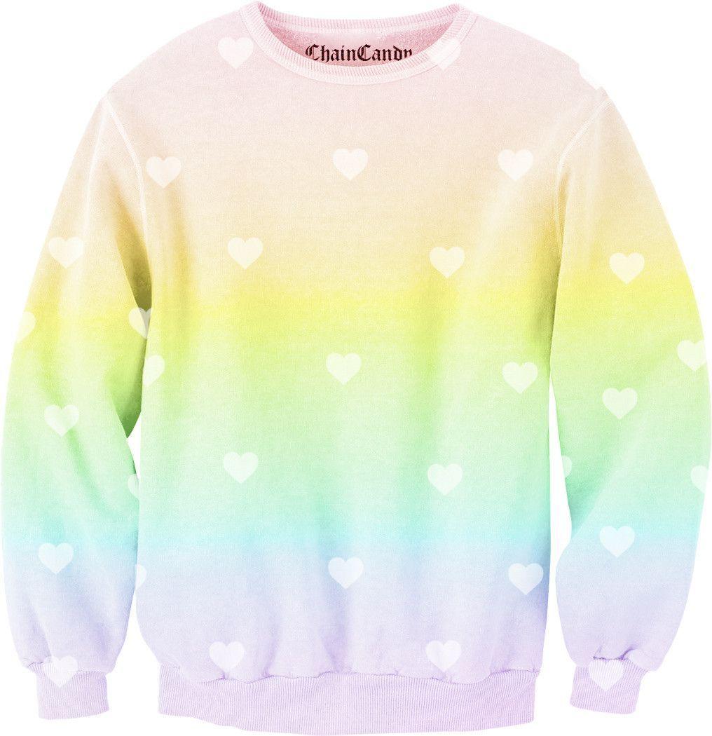 Heart pastel rainbow allover printed sweatshirt products