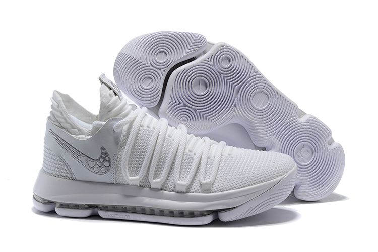 detailed pictures sleek cheaper Men's Nike KD 10 Platinum Tint/Vast Grey-White Basketball Shoes ...