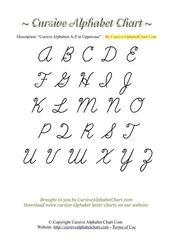 Capital Cursive A : capital, cursive, Cursive, Alphabet, Chart, Alphabet,, Chart,, Letters