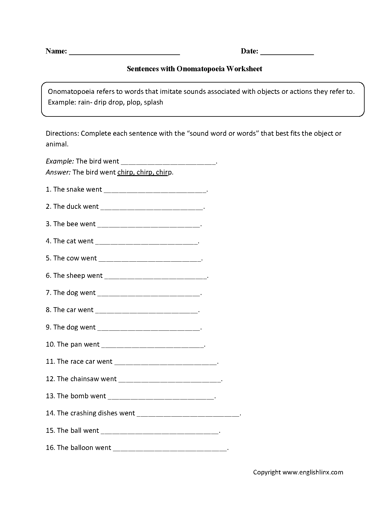 Sentences With Onomatopoeia Worksheet