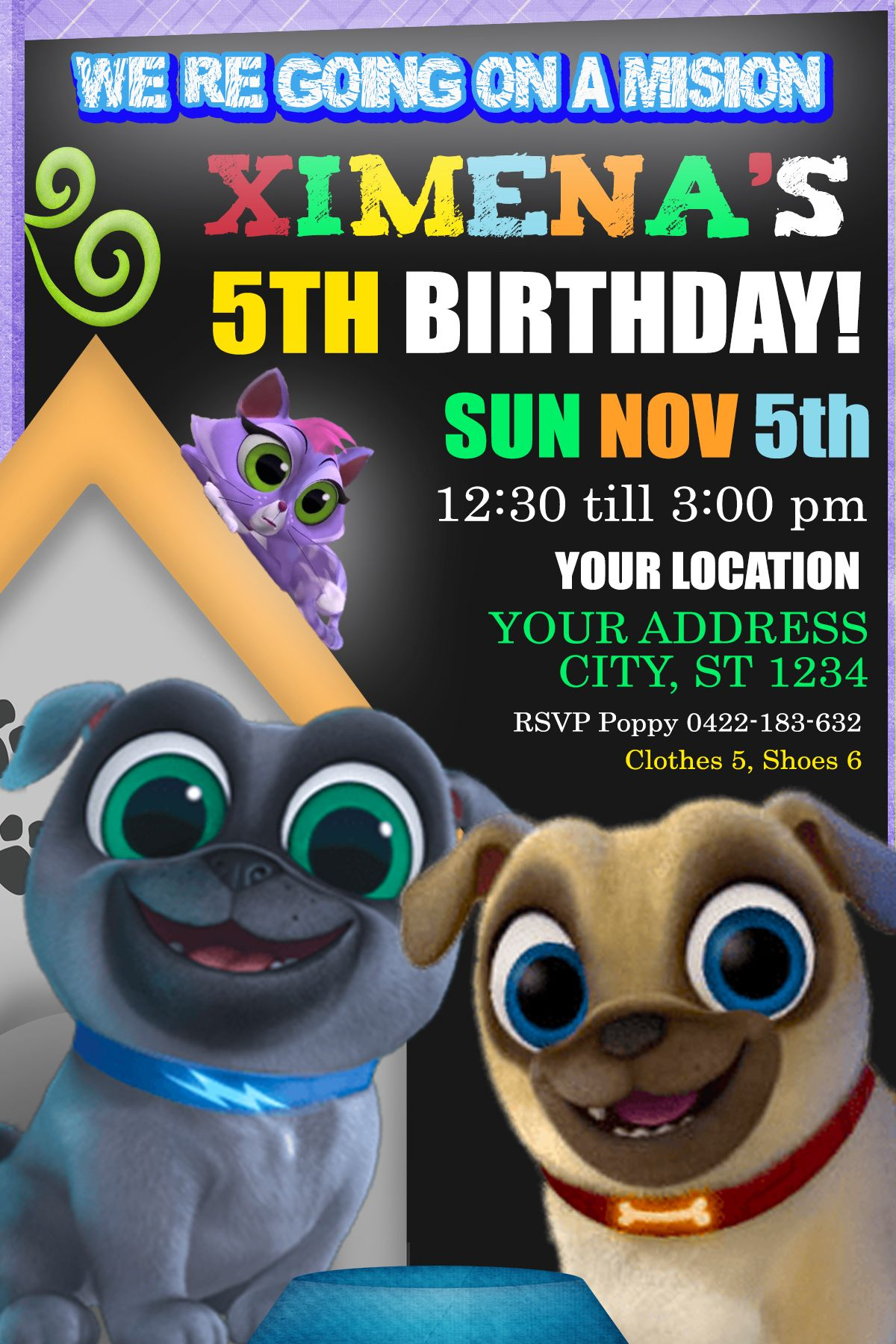 Puppy Dog Pals Birthday Party Invitation Birthday Party Invite Birthdayparty Birthdayinvitation Birth Invitaciones De Cumpleanos Invitaciones Cumpleanos