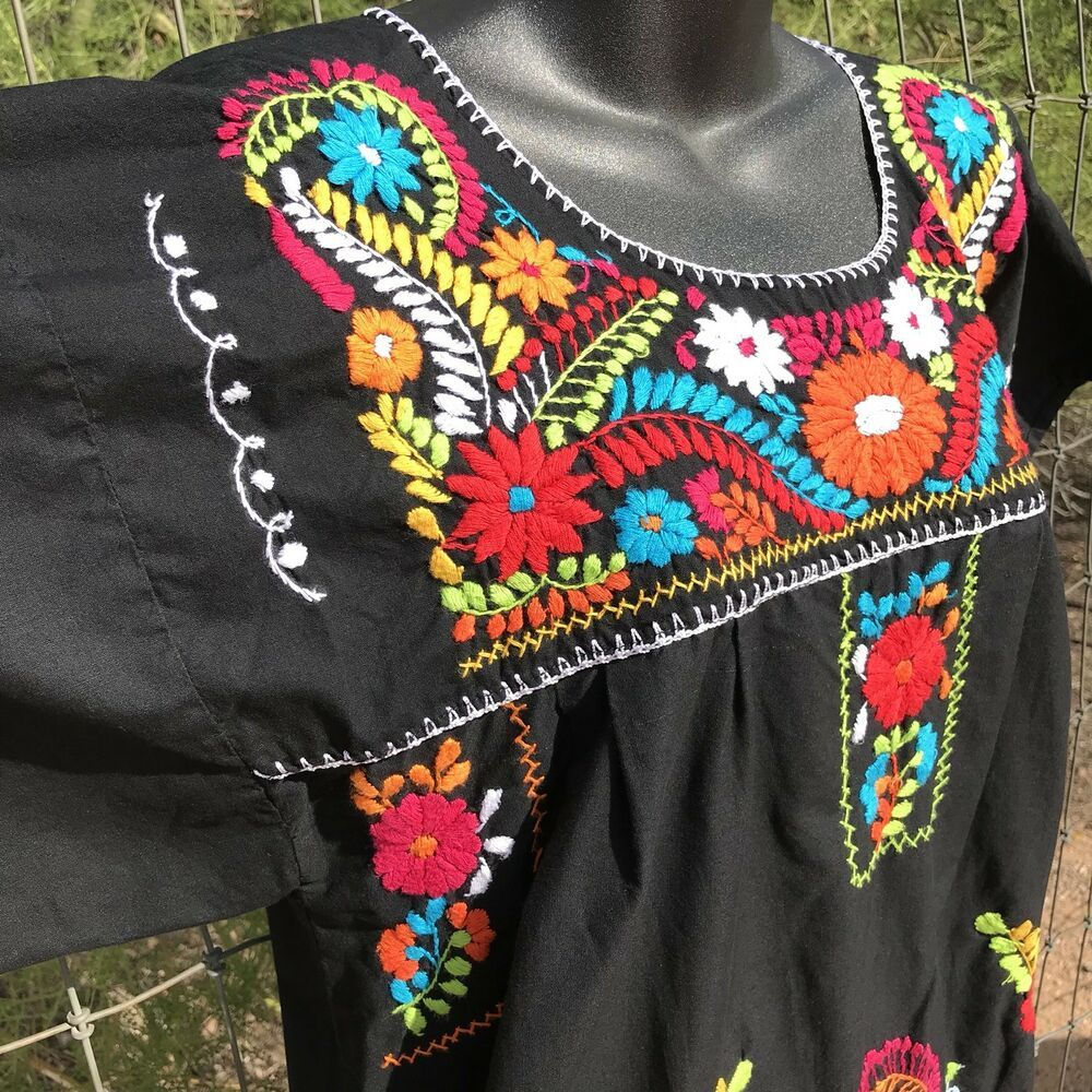 Vintage Mexico Oaxacan Floral Embroidered Dress O/S #Handmade #Maxi #Casual