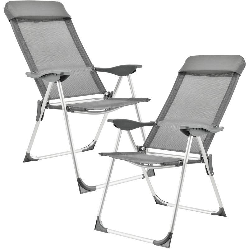 Chaise Pliante En Kit De 2 Gris Fonce Cadre D Aluminium Revetement Textile 54483635 Outdoor Chairs Folding Chair Outdoor Decor