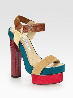 Diane von Furstenberg Mixed Media Platform Sandals